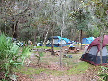 Tent campers at our on-site primitive campground